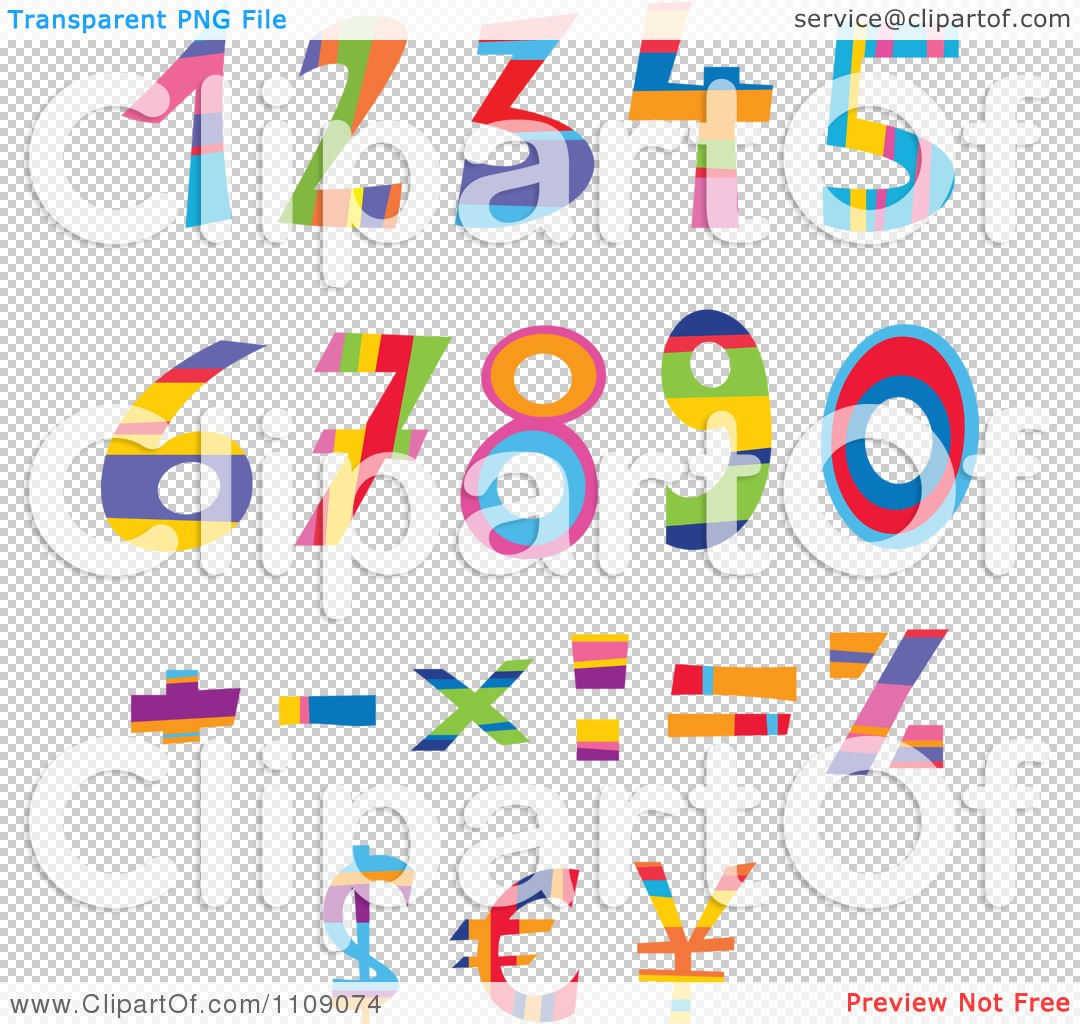 Clipart colorful numbers currency and math symbols royalty free png file has a biocorpaavc Choice Image