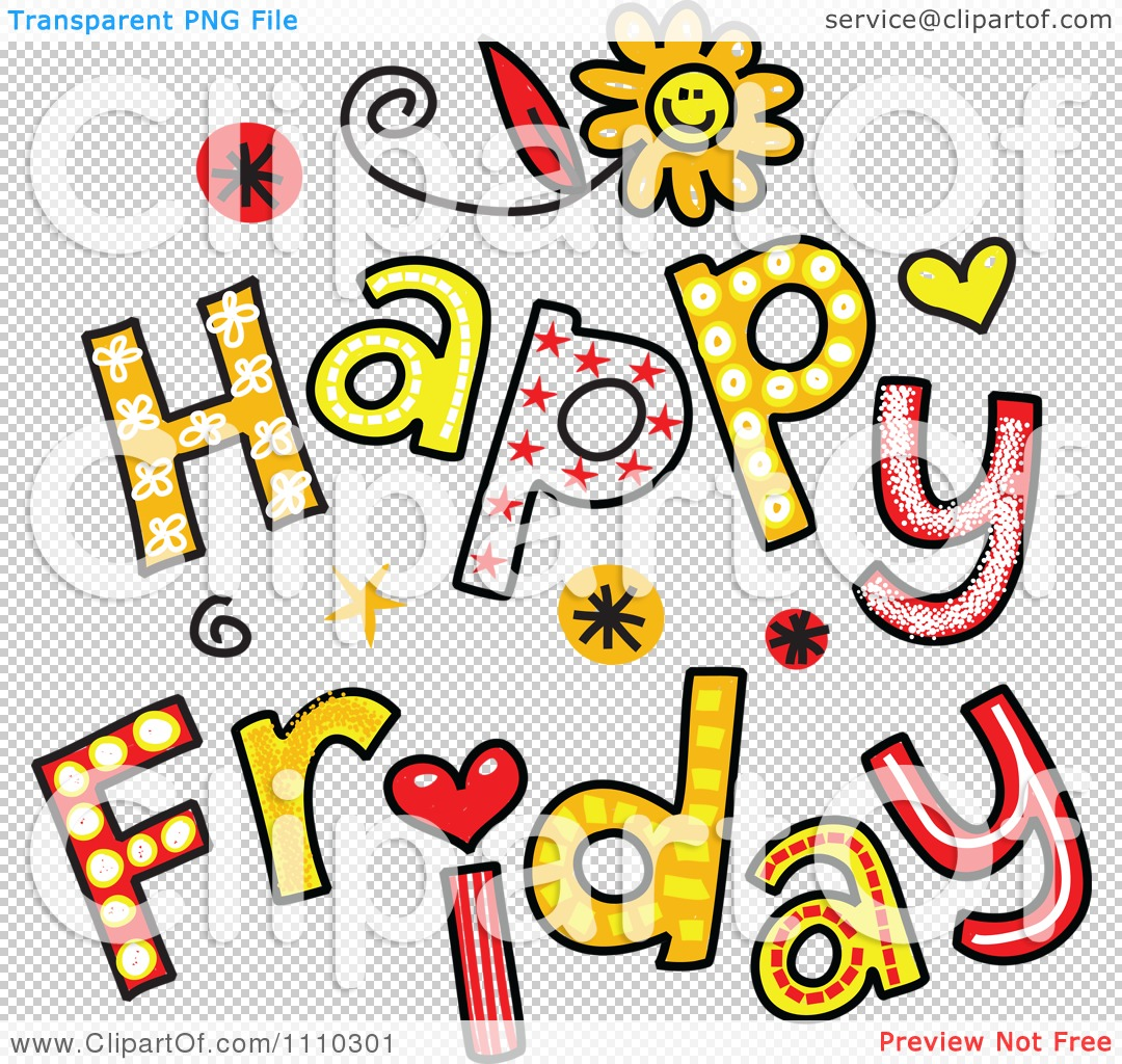 clipart colorful sketched happy friday text royalty free vector rh clipartof com