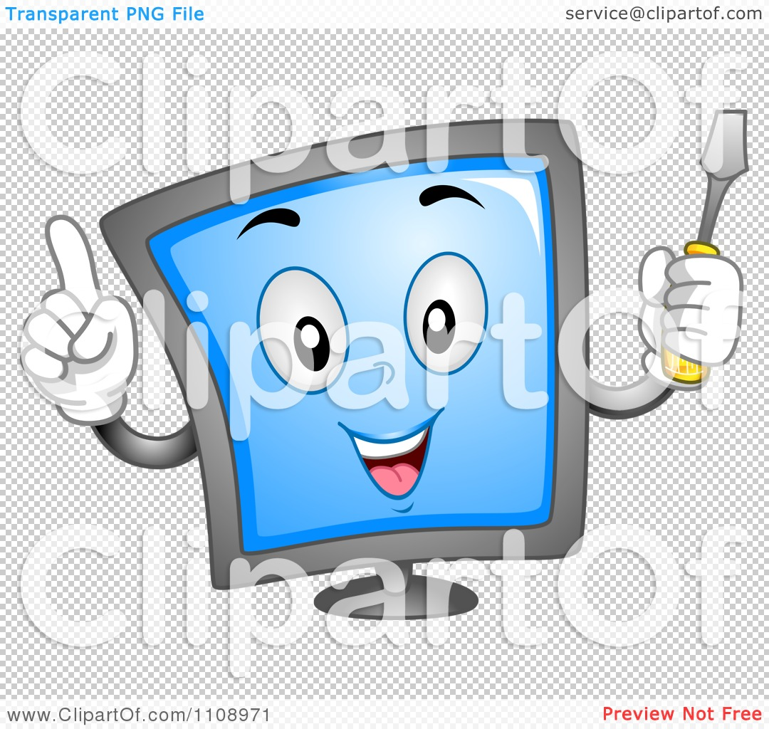 Clipart Computer Repair Screen Mascot With A Screwdriver - Royalty ...
