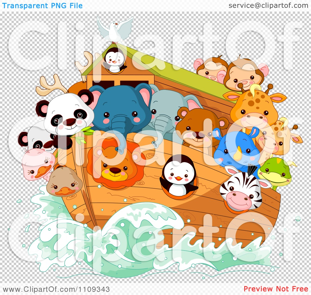 Clipart Cute Animals Aboard Noahs Ark - Royalty Free Vector ...