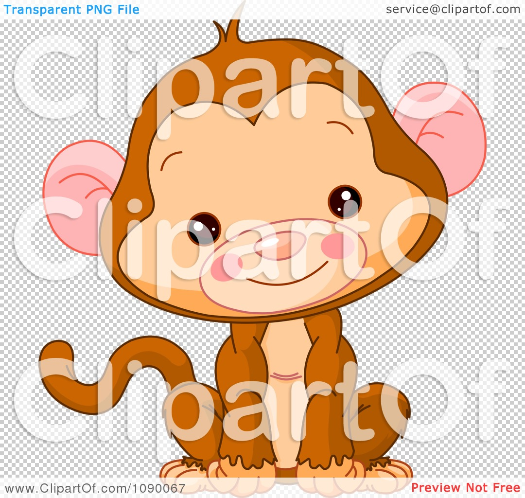 clipart cute baby monkey sitting upright and smiling royalty