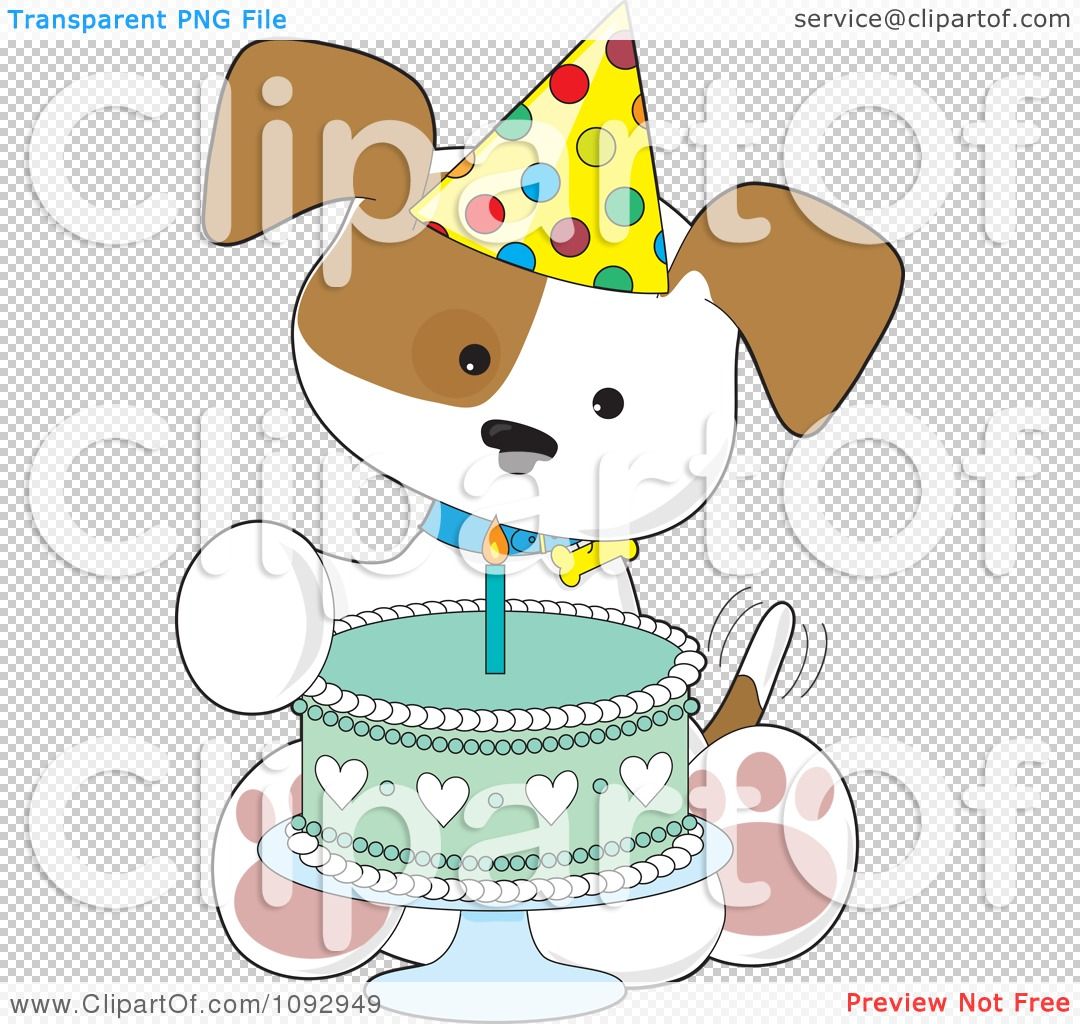 Clipart Cute Birthday Puppy With A Party Hat And Cake ...
