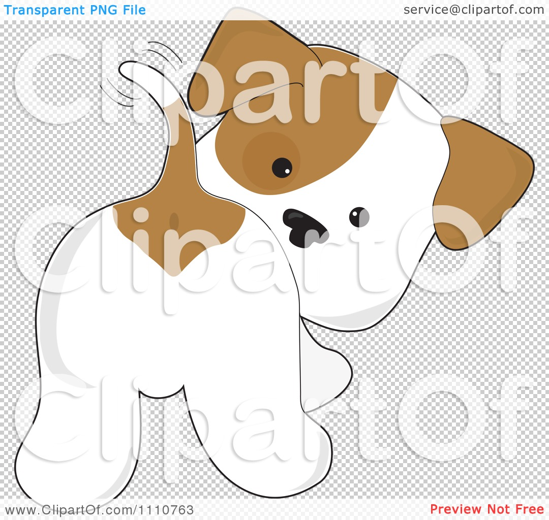 Clipart Cute Puppy Looking Back And Wagging His Tail ...