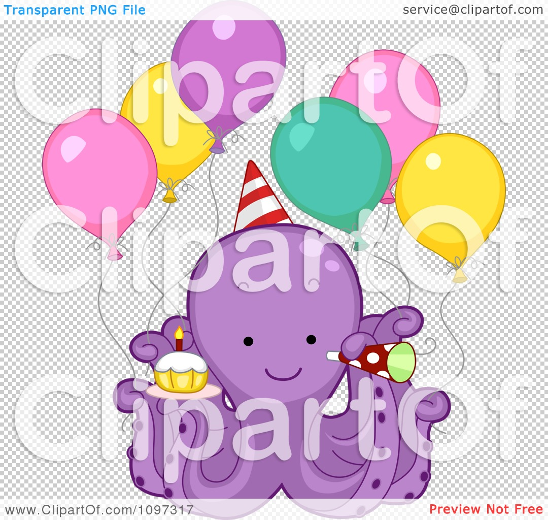 Clipart Cute Purple Octopus With Party Balloons A Cupcake