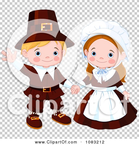 Clipart Cute Thanksgiving Pilgrims - Royalty Free Vector ...