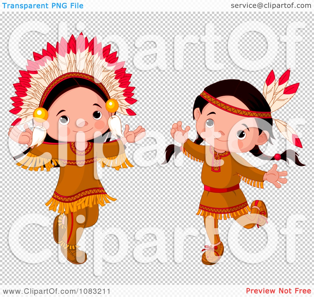 Clipart Dancing Thanksgiving Native American Girl And Boy ...