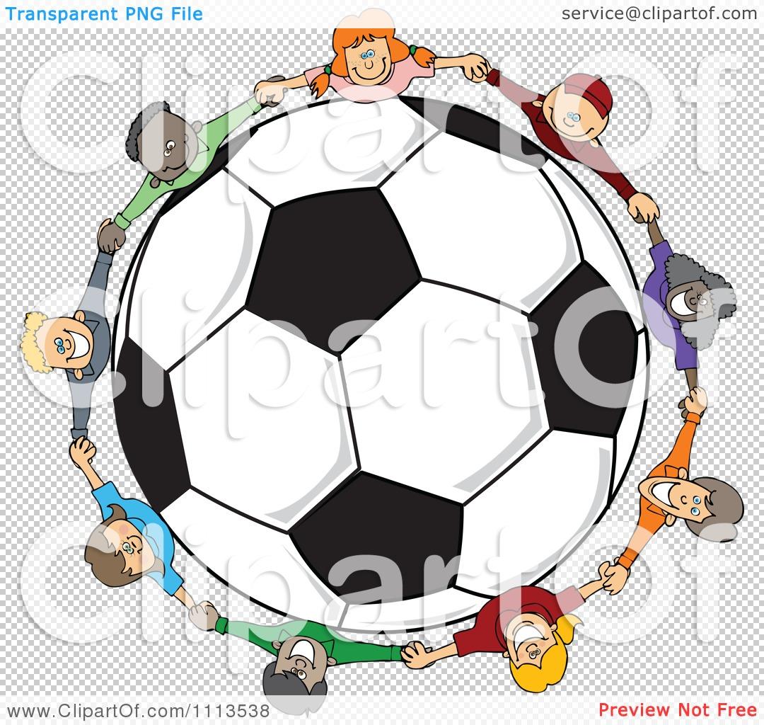 Clipart Diverse Children Holding Hands Around A Soccer Ball ...