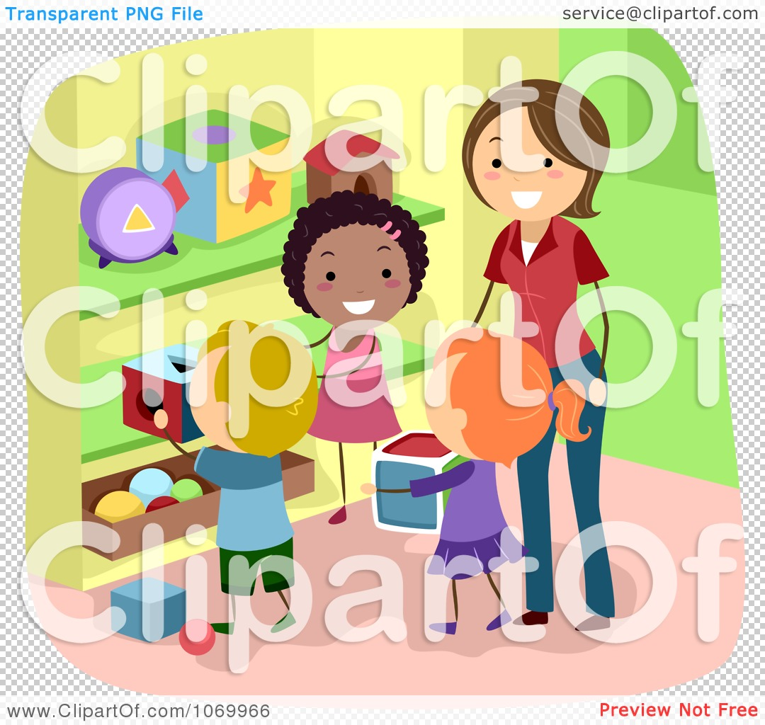 Clipart Diverse Stick Students Picking Up Toys Royalty Free Vector
