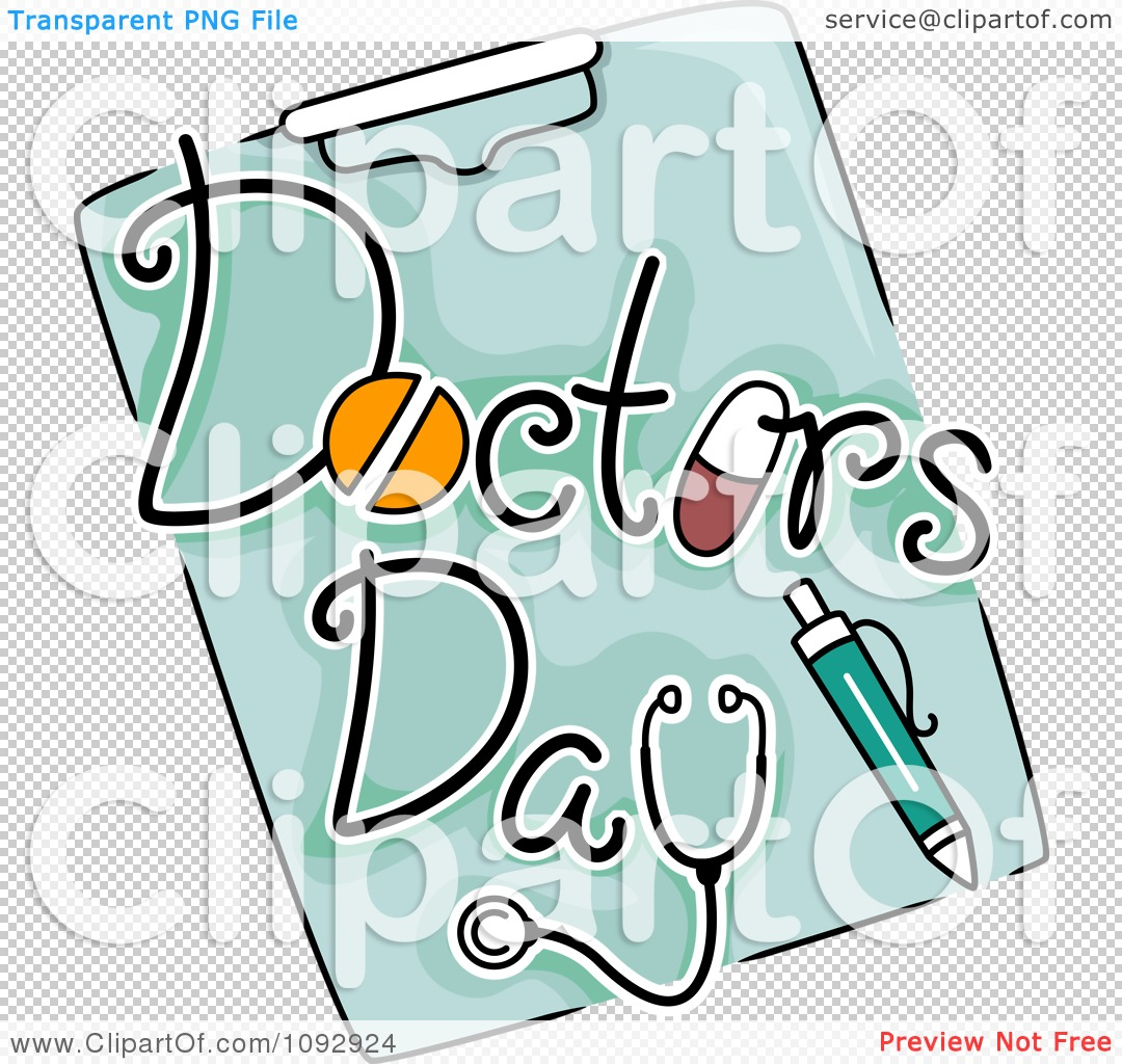 Clipart Doctors Day Text And A Pen On A Clipboard - Royalty Free ...