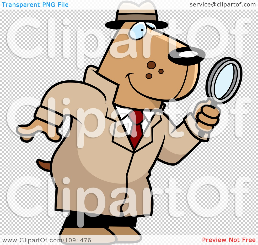 Clipart Dog Detective Using A Magnifying Glass - Royalty Free ...