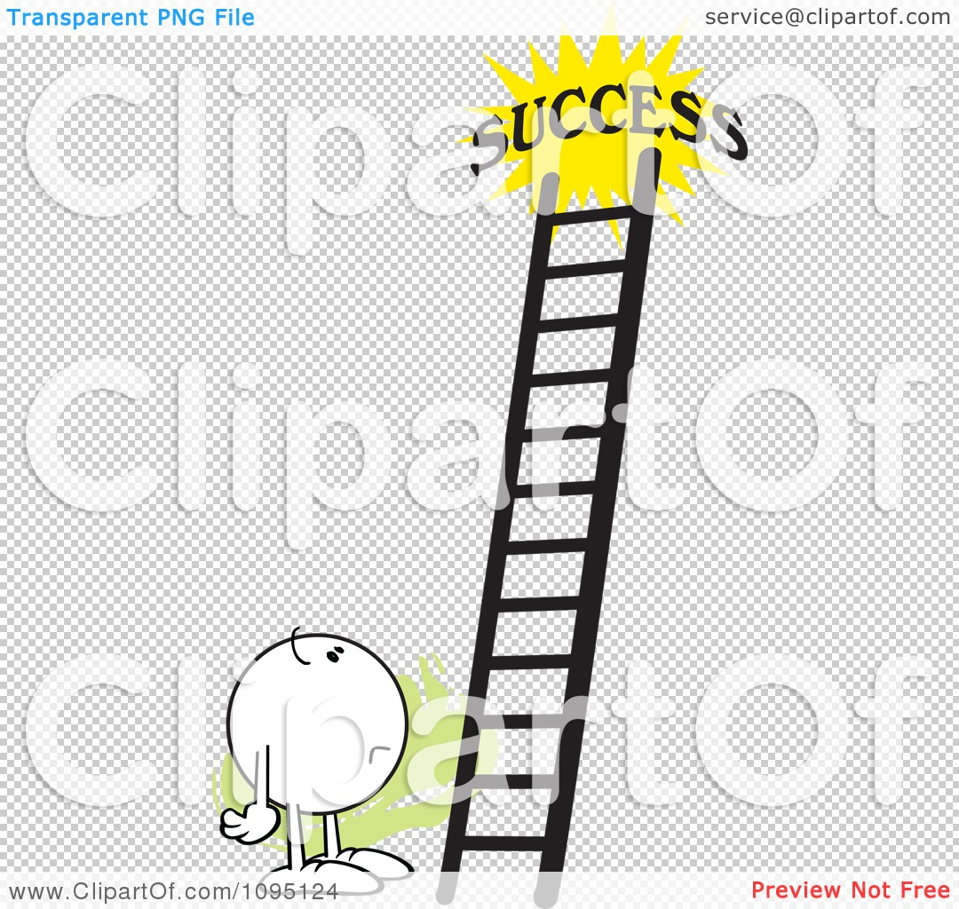 Clipart Doubtful Moodie Character Looking At A Ladder To