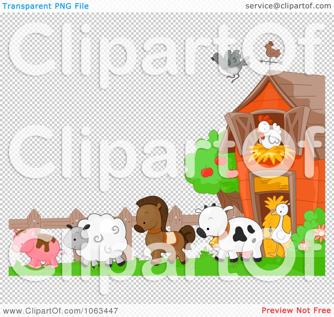 Clipart Farm Animals Background - Royalty Free Vector Illustration