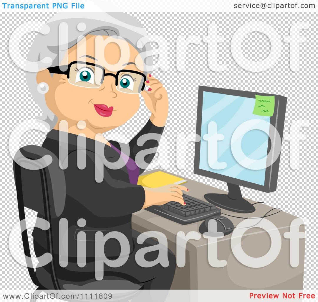 Clipart Female Senior Citizen Working At An Office