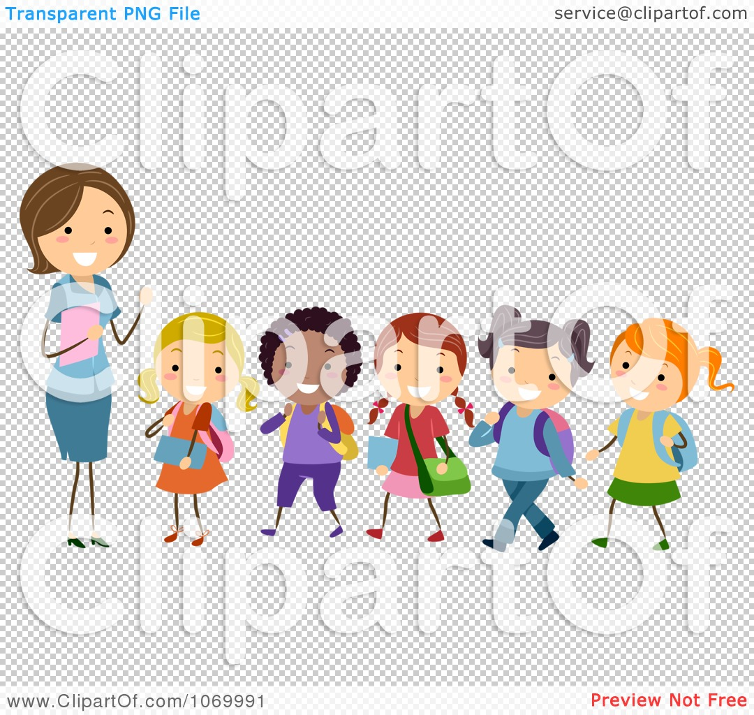 clipart female teacher and a line of diverse stick students rh clipartof com Free Clip Art for Elementary Teachers Free Preschool Clip Art for Teachers
