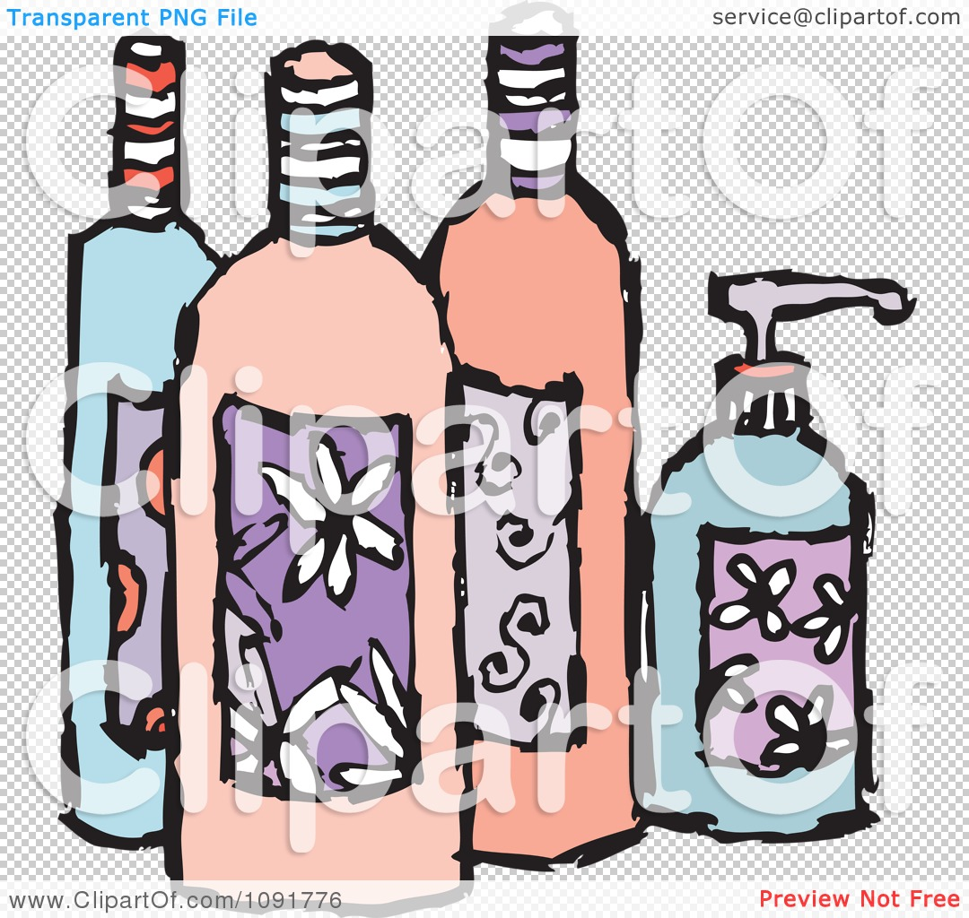 Clipart feminine beauty product lotion and soap bottles royalty free