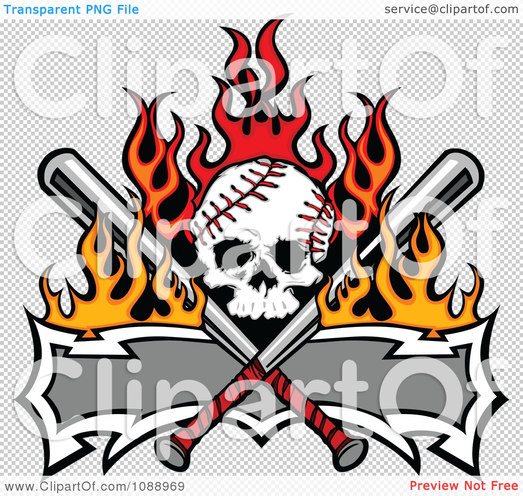 clipart fiery baseball skull with crossed bats and a banner