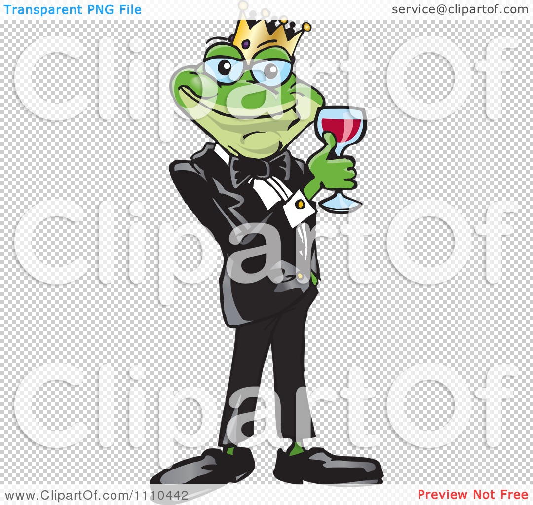 Clipart Frog Prince With Red Wine - Royalty Free Vector ...