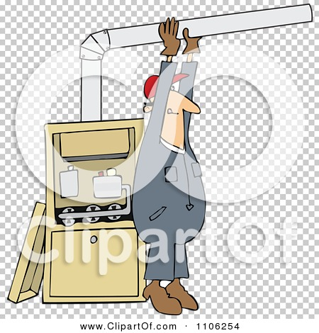 Clipart Furnace Installer Man Adjusting A Pipe - Royalty Free ...