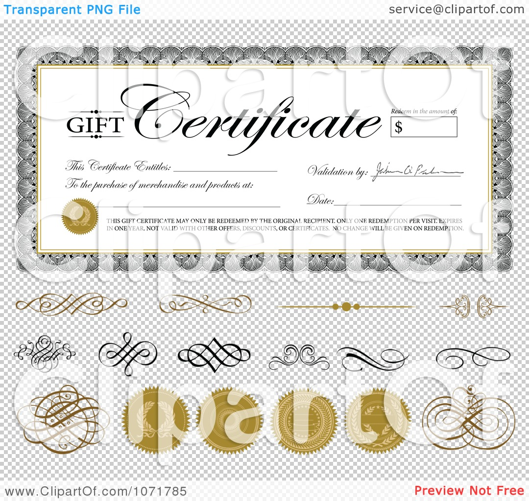 clipart gift certificate swirls and seals sample text png file has a