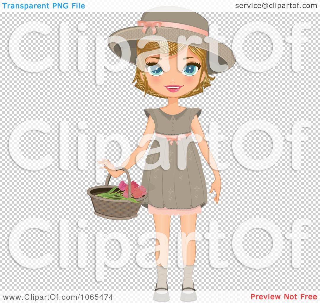 clipart girl holding flowers - photo #34