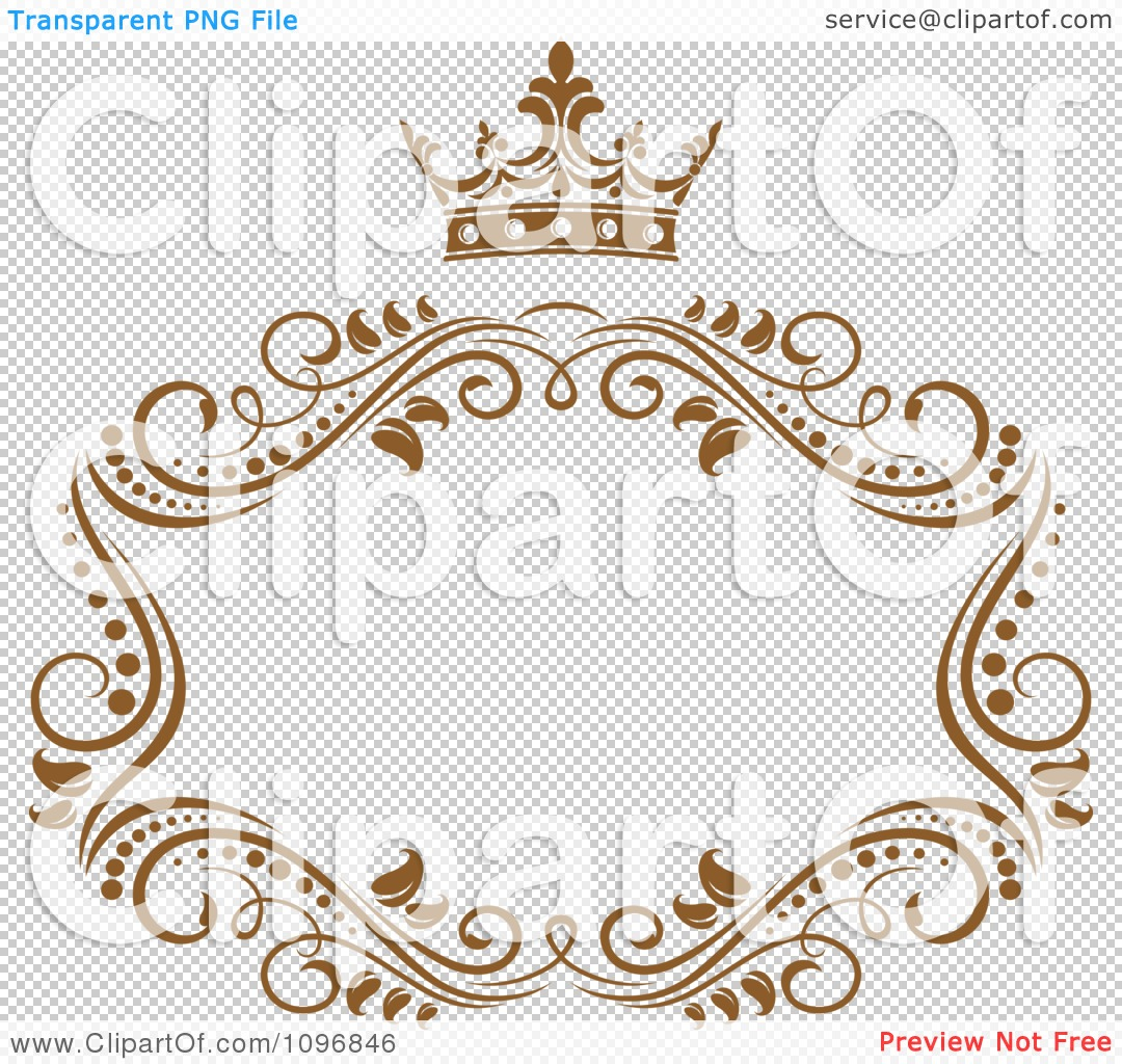 Clipart Gold Ornate Swirl Frame With A Crown And Copyspace On ...