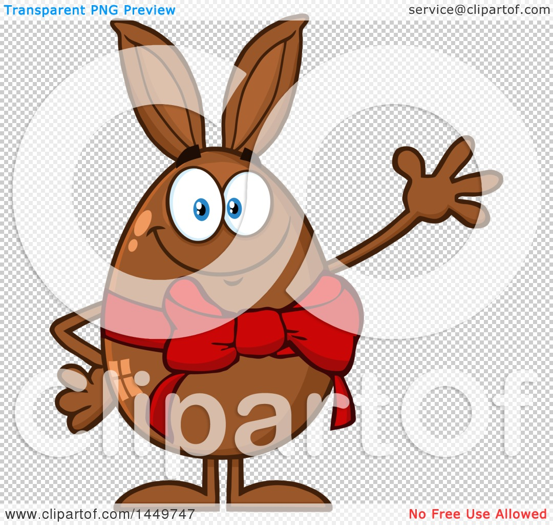Clipart Graphic of a Cartoon Bunny Eared Chocolate Easter Egg ...