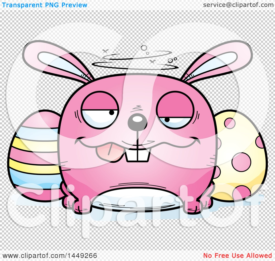 clipart graphic of a cartoon drunk easter bunny character mascot