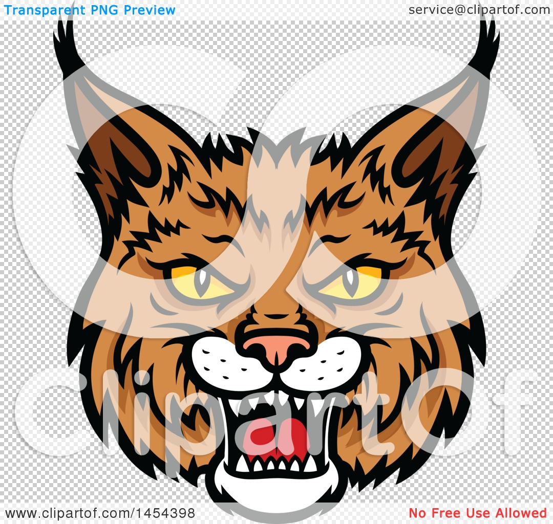 Clipart Graphic of a Tough Bobcat Lynx Mascot Face - Royalty Free ...