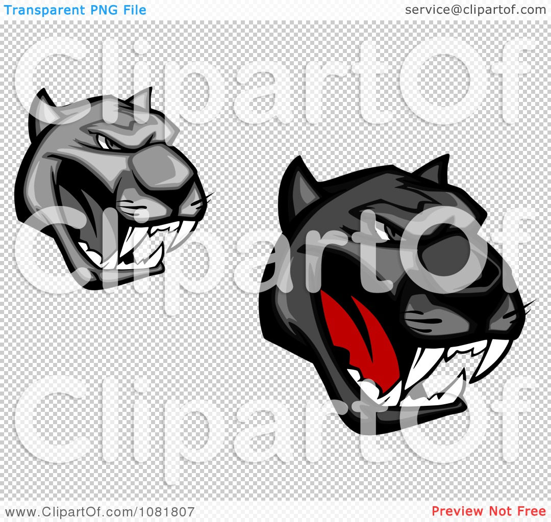 Black Panther Growling Royalty Free Stock Image: Clipart Grayscale And Black Growling Panther Heads