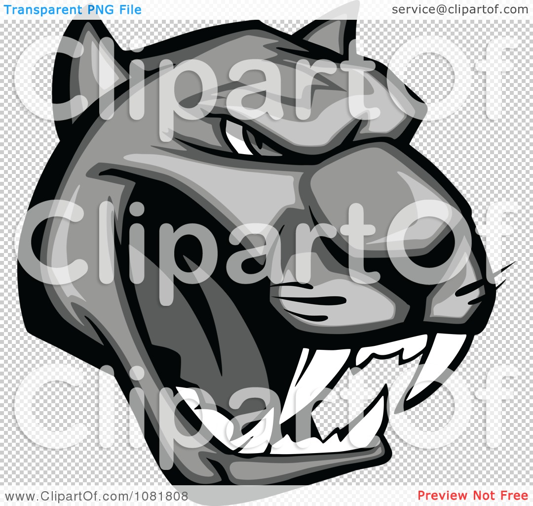 Growling Panther Face Stock Vector 585261455: Clipart Grayscale Growling Panther Head