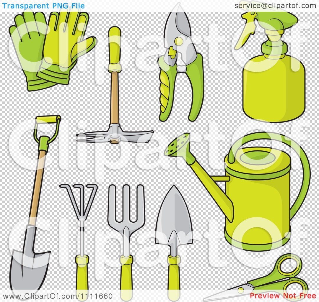 Clipart green gardening tools royalty free vector for Gardening tools clipart