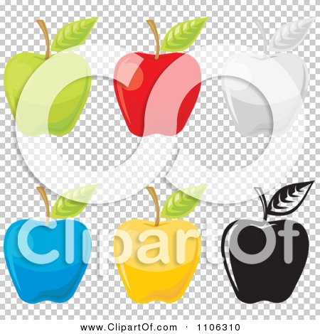 Clipart Green Red Gray Blue Yellow And Black And White Apple Icons ...