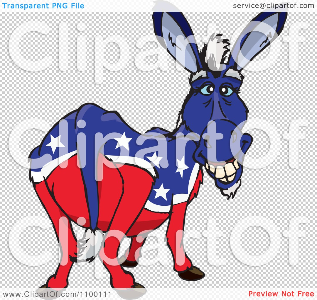 Clipart Grinning Democratic Donkey - Royalty Free Vector ...