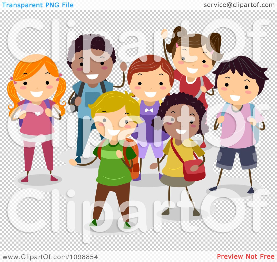 Clipart Group Of Happy Diverse School Children Smiling - Royalty ...