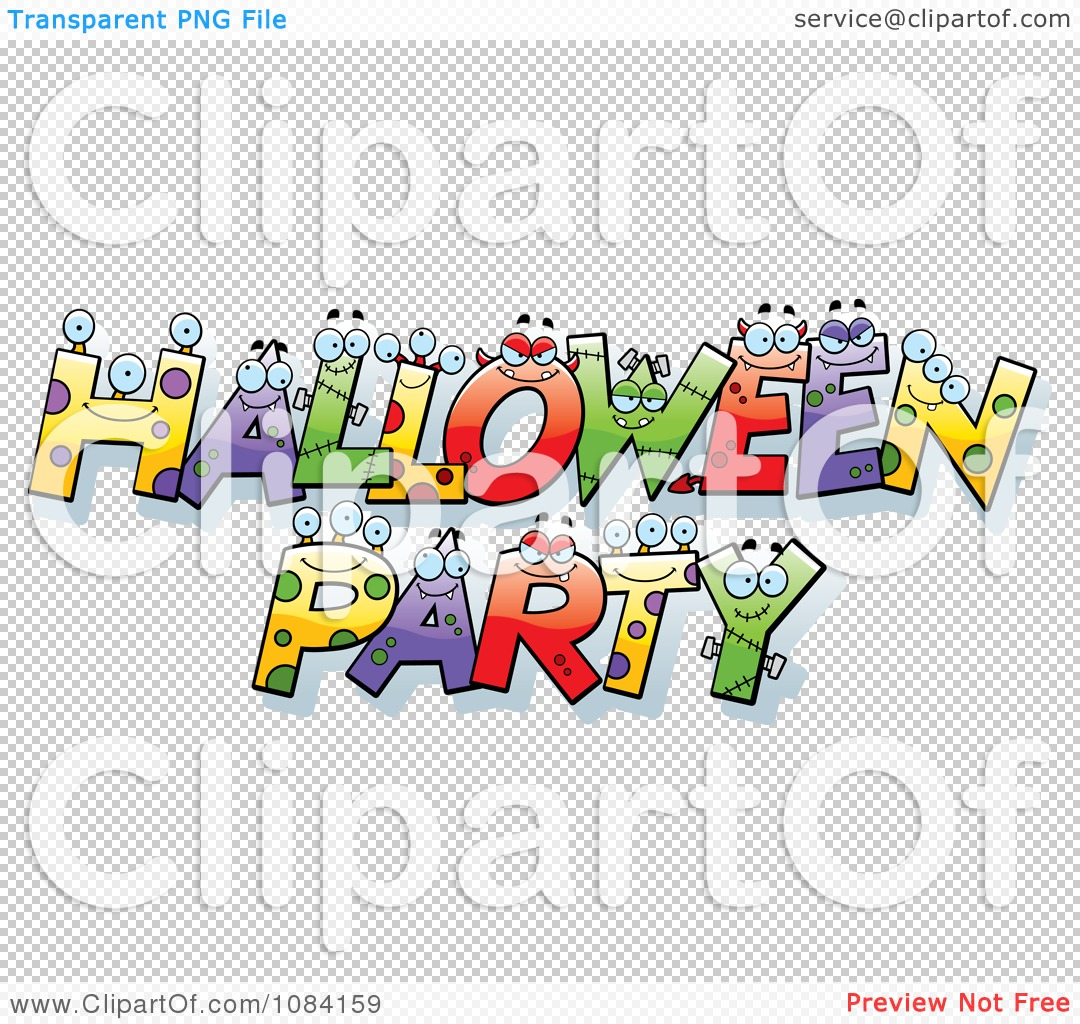 Clipart Halloween Party Letter Characters - Royalty Free Vector ...