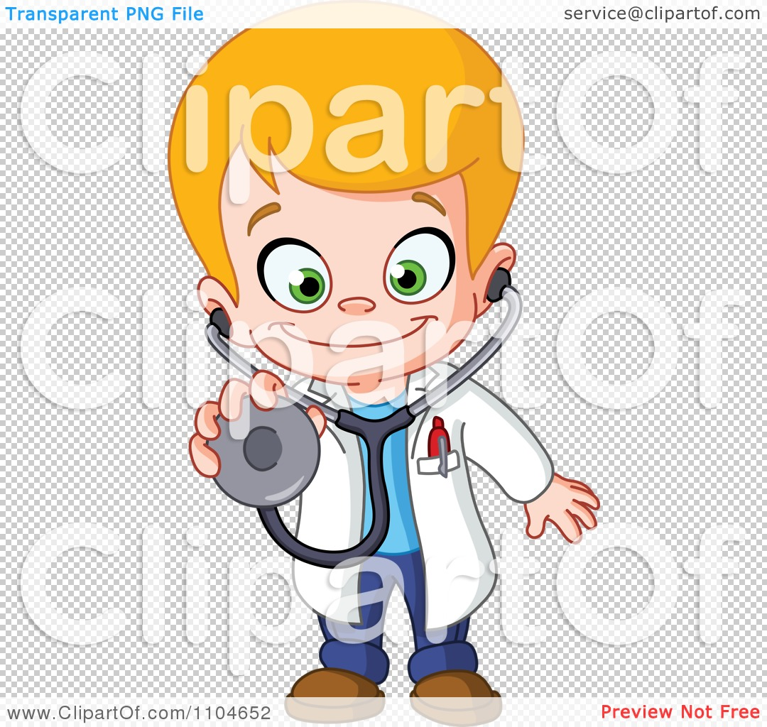 Happy blond doctor boy holding out a stethoscope royalty free vector