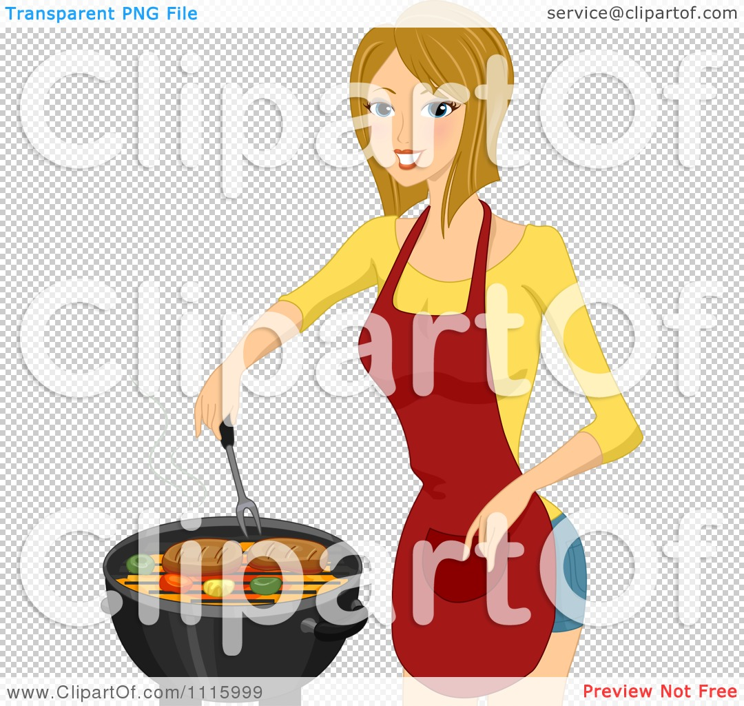 Clipart Outlined Woman Grilling Steak On A BBQ - Royalty