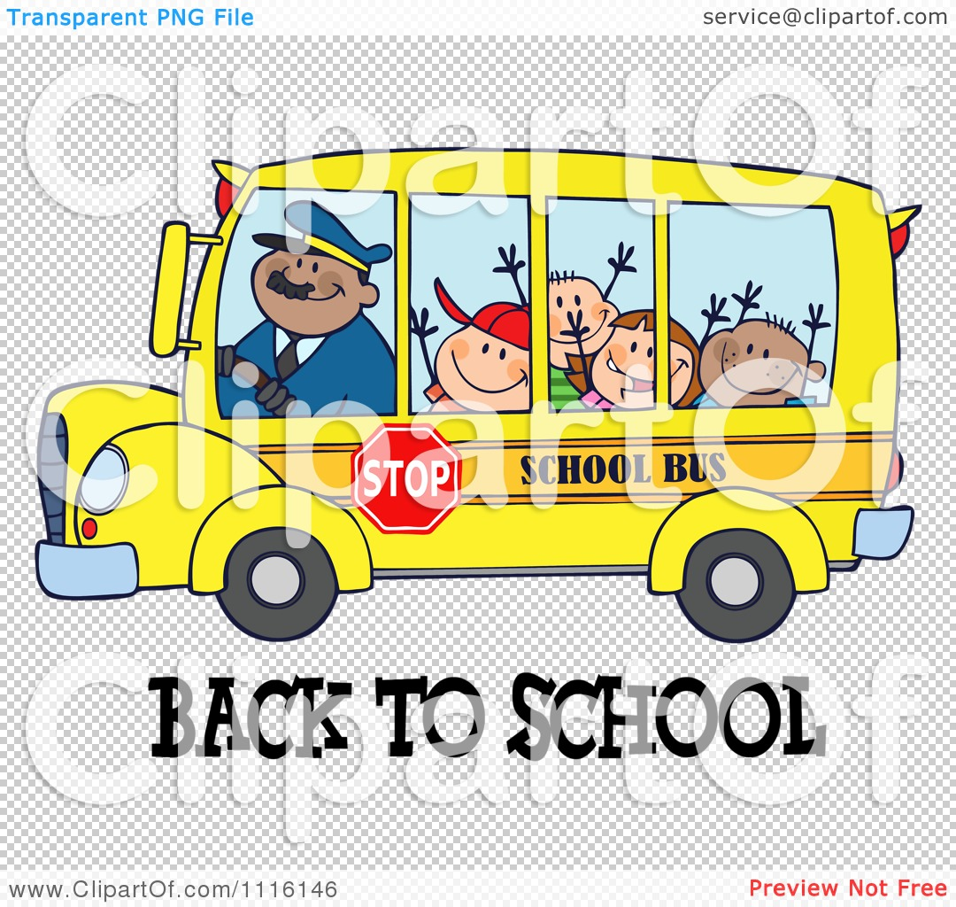 Clipart Happy Bus Driver And Children Over Back To School Text ...