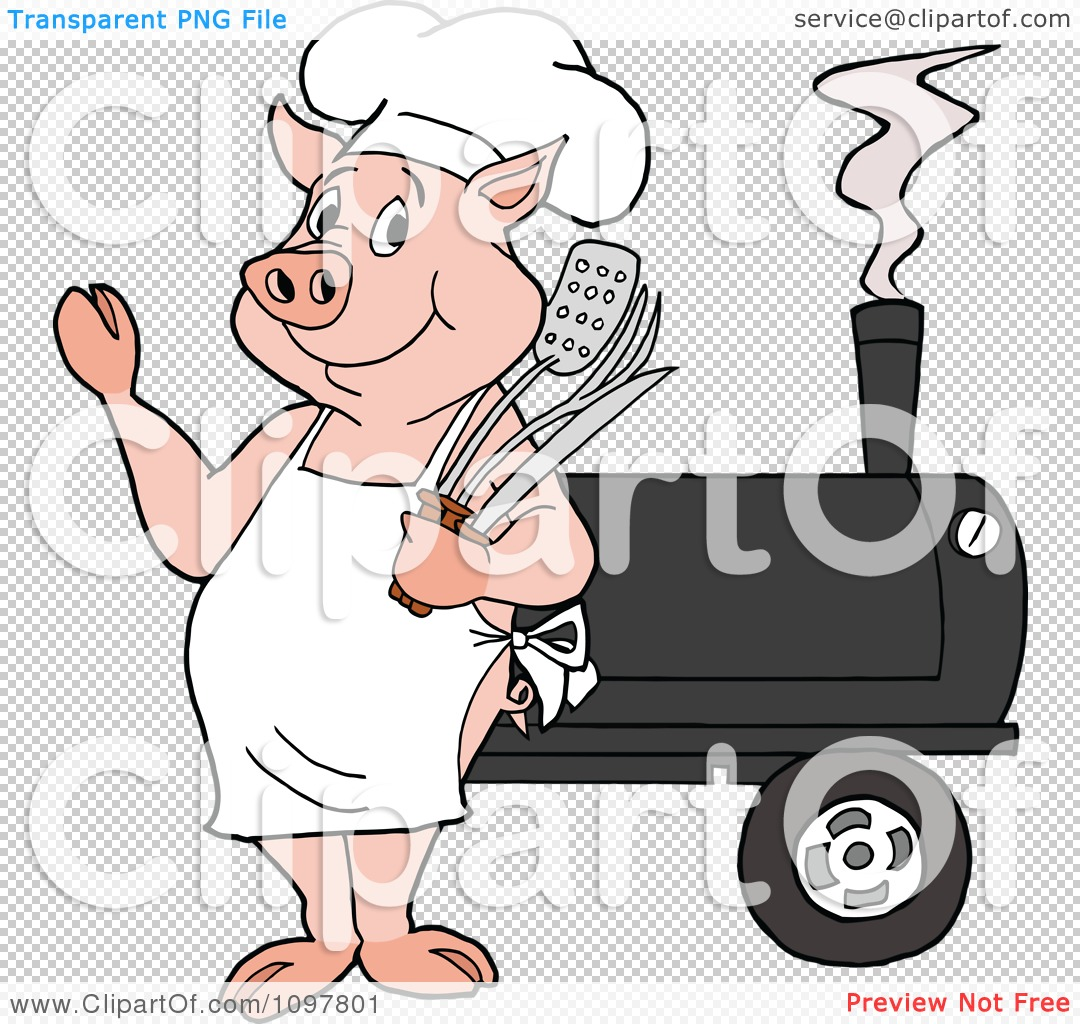 Clipart Happy Chef Pig Waving And Standing By A Bbq Smoker ...