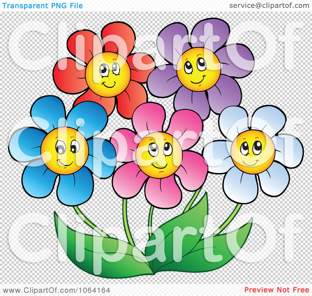Clipart Happy Colorful Daisy Flowers 2 Royalty Free Vector