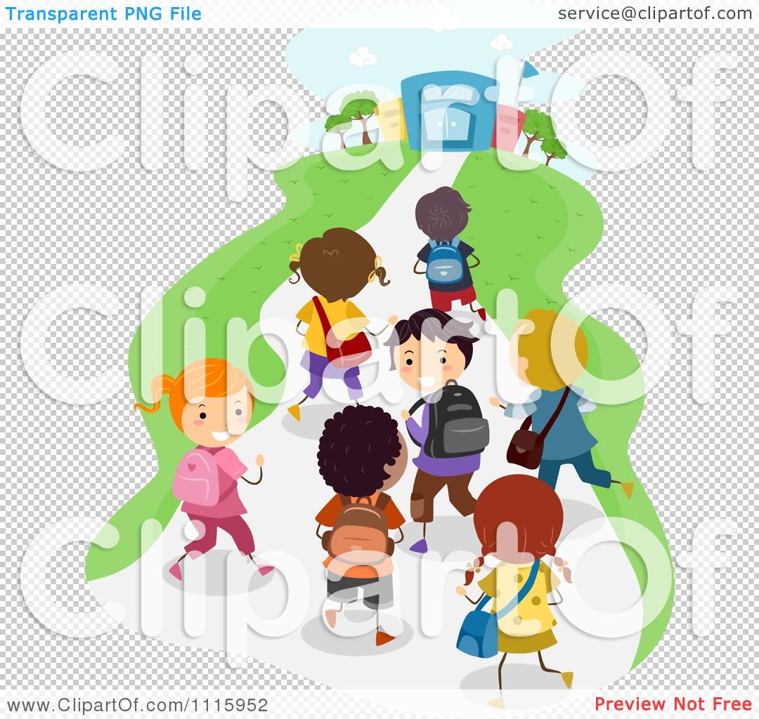 Clipart Happy Diverse Kids Walking Towards A School