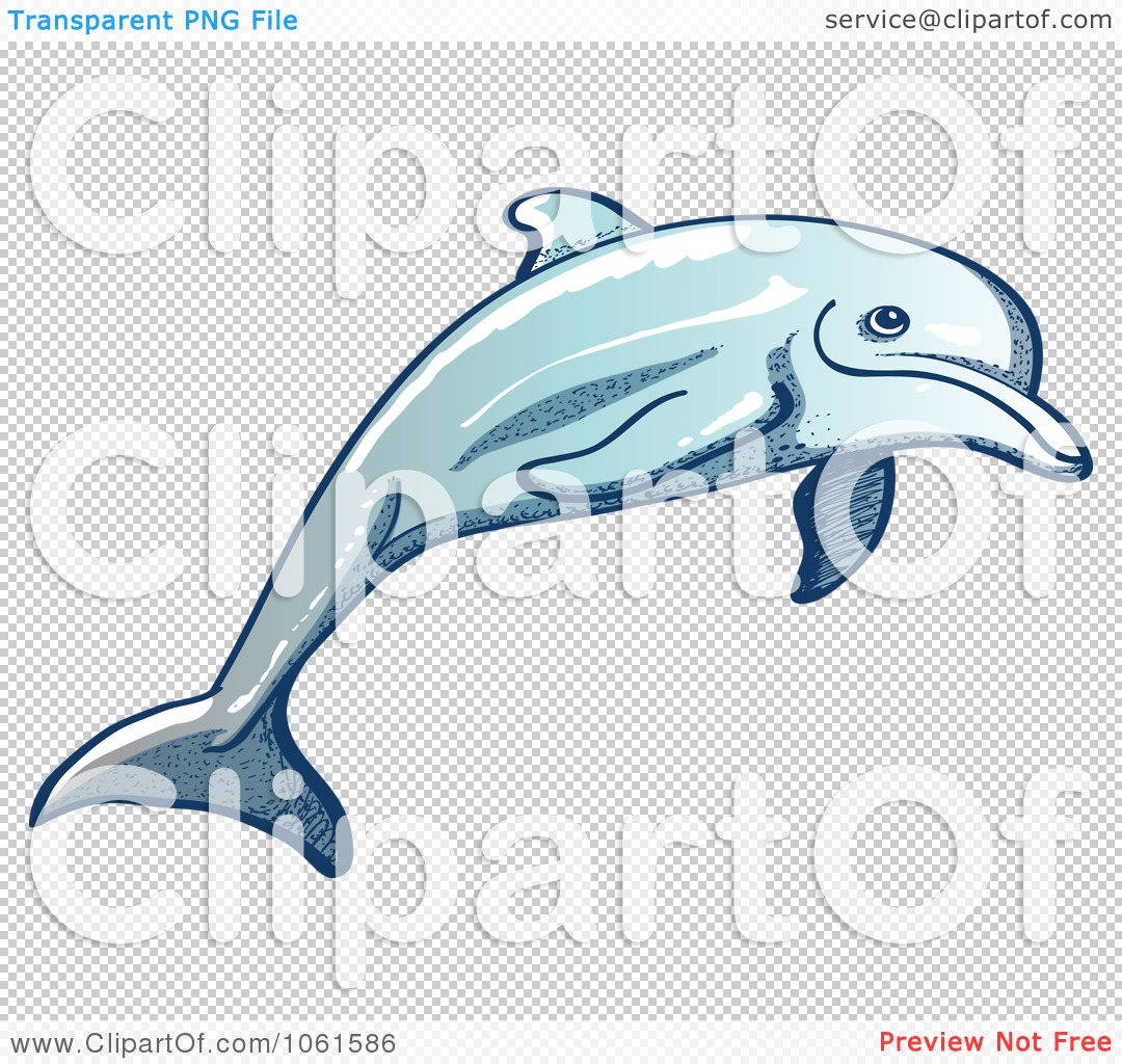 Clipart Happy Dolphin Leaping - Royalty Free Vector Illustration ...