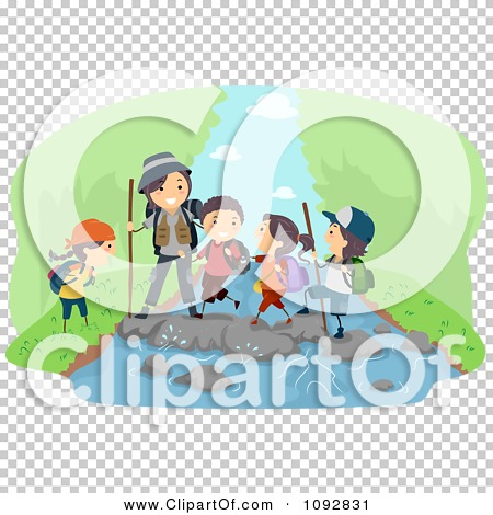 Clipart Happy Family Hiking And Crossing A River Over Green