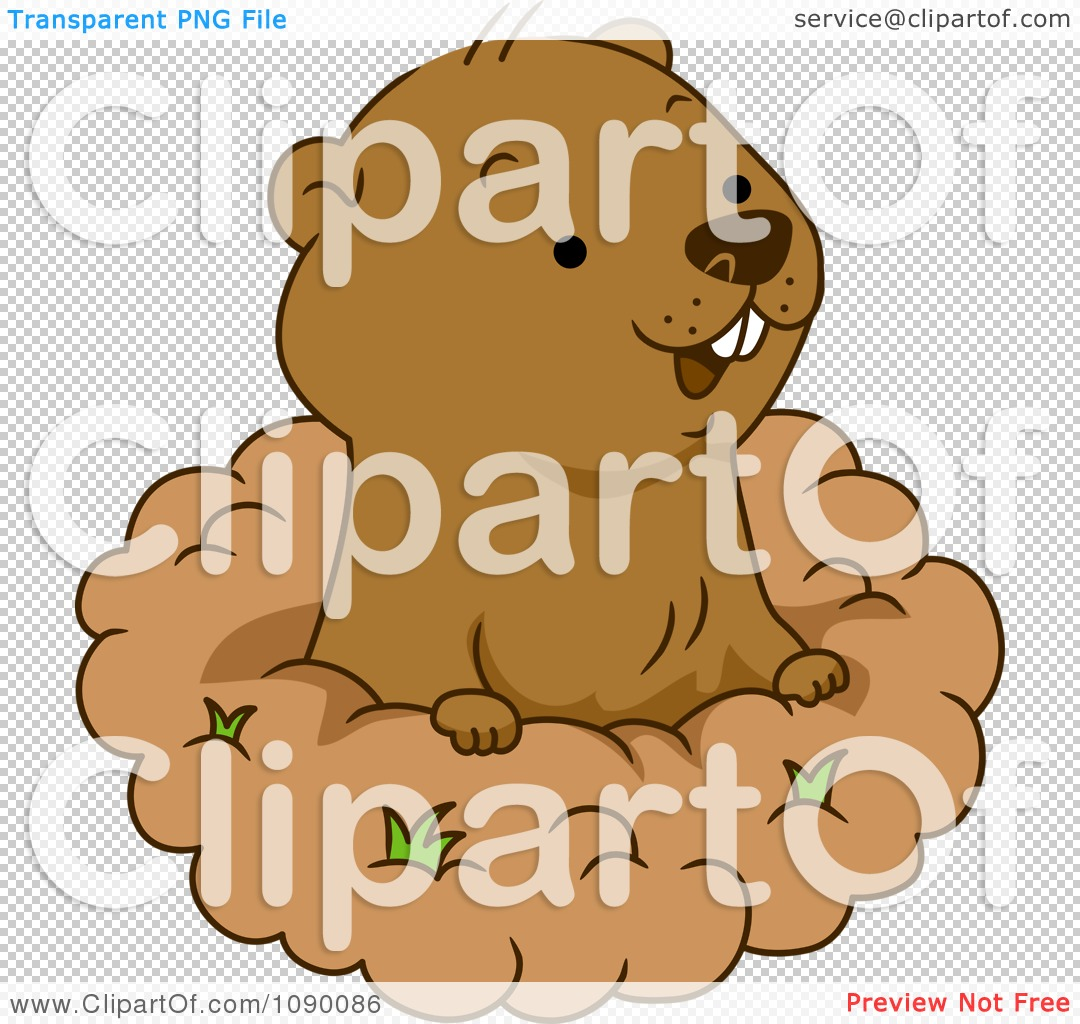 clipart happy groundhog peeking out of his hole royalty free