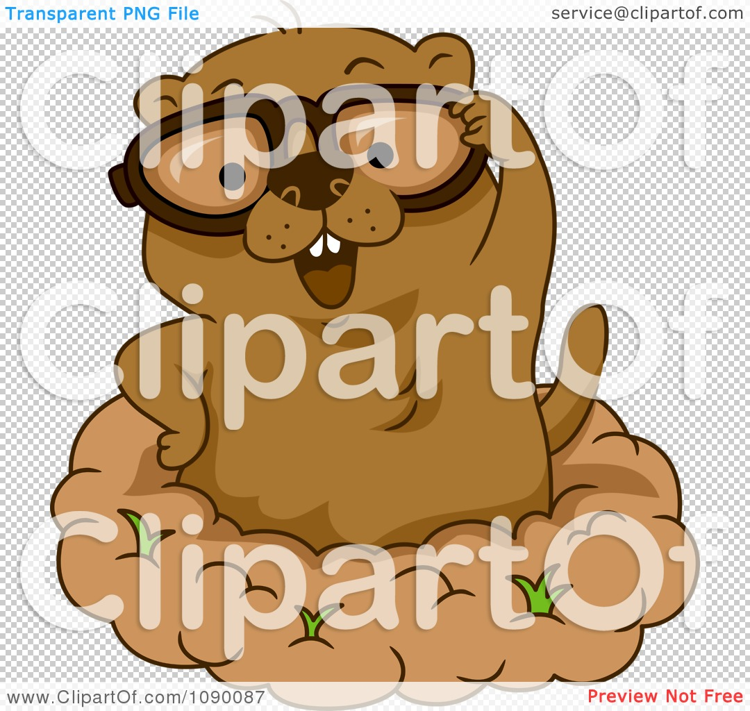 clipart happy groundhog wearing glasses and standing in his hole