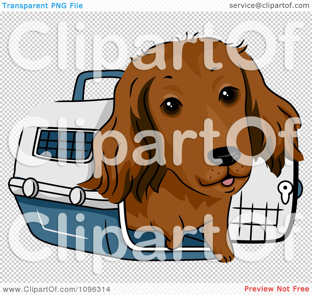 Dachshund Dog In A Pet Carrie - Royalty Free Vector Illustration by