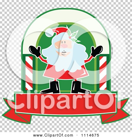 Clipart Happy Santa In An Arch Above A Banner - Royalty ...