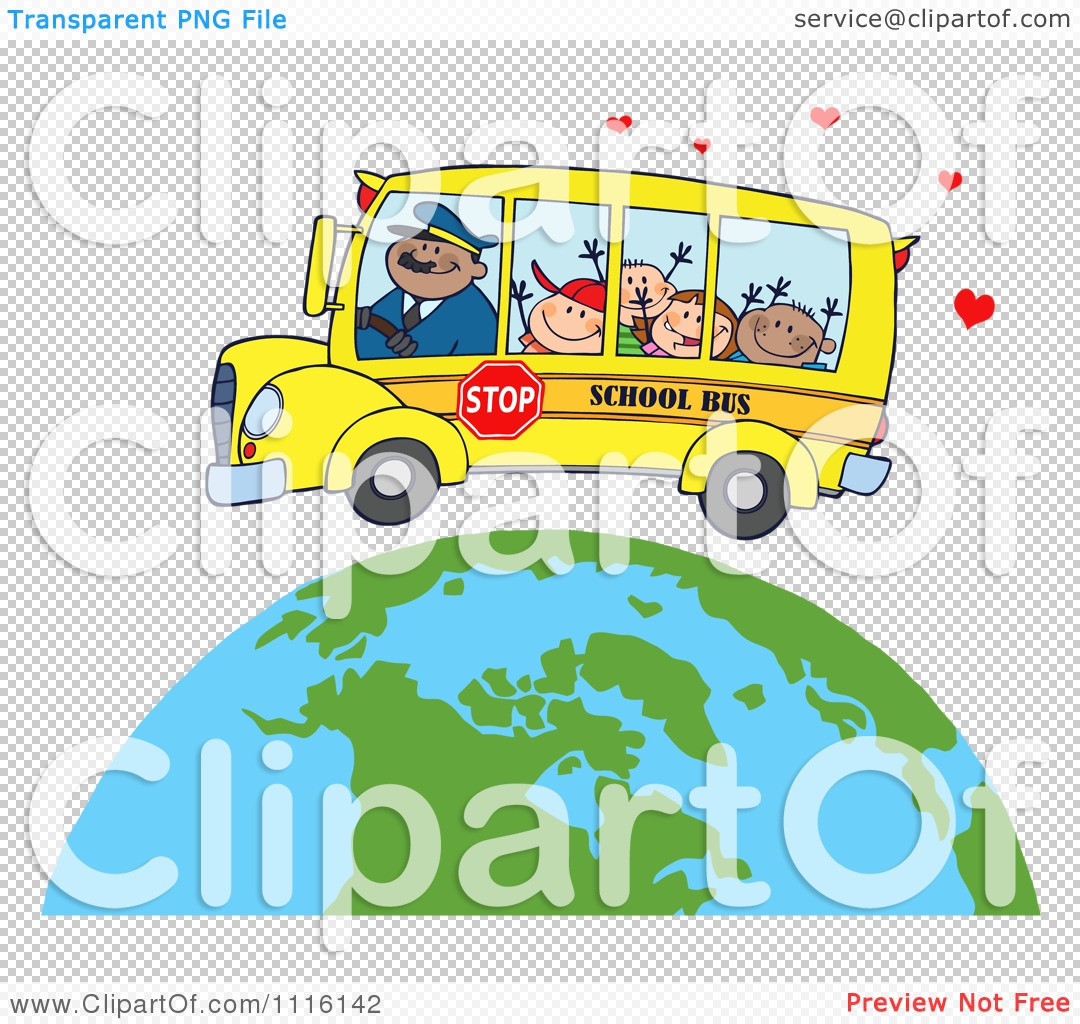 Clipart Happy School Bus Driver And Children Over A Globe With ...