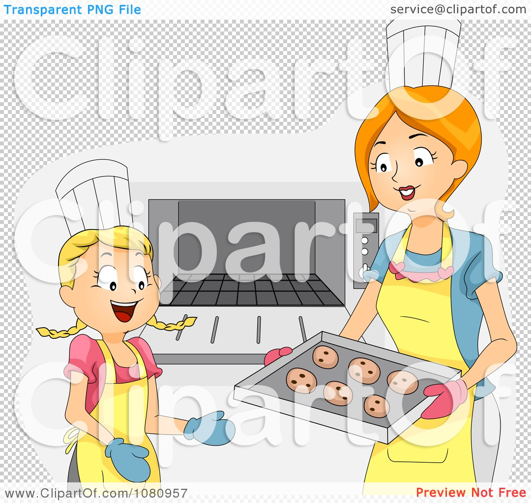Clipart Home Economics Teacher And Girl Putting Cookies In An Oven ...