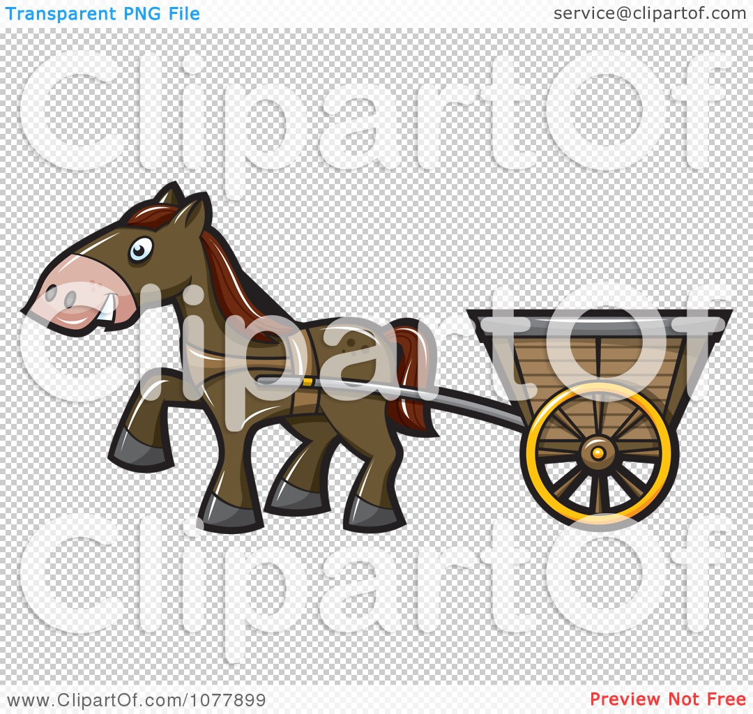 Clipart Horse Pulling A Cart - Royalty Free Vector Illustration by ...